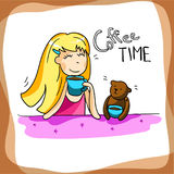 Beautiful girl drinking coffee, enjoy your morning,  illustration Royalty Free Stock Images