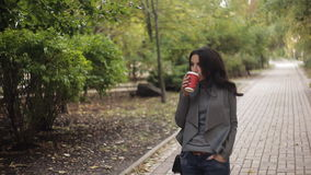 Beautiful girl is drinking coffee in the park. Autumn soft light stock video