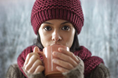 Beautiful girl drinking a hot drink royalty free stock images