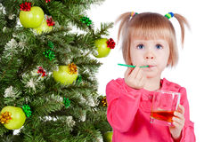 Beautiful girl drinking juice Royalty Free Stock Photos