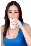 Beautiful girl drinking milk Stock Photo