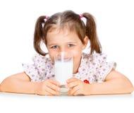 Beautiful girl drinking milk Stock Image