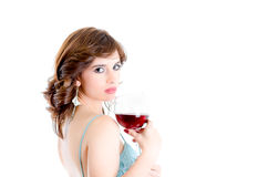 Beautiful girl drinking red wine isolated Royalty Free Stock Images