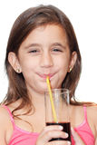 Beautiful girl drinking a soft drink Royalty Free Stock Photo