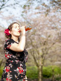 Beautiful girl drinking some juice Royalty Free Stock Photos