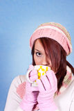 Beautiful girl drinking tea Stock Photography