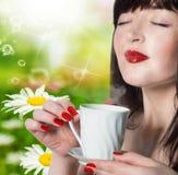 Beautiful Girl Drinking Tea Royalty Free Stock Image