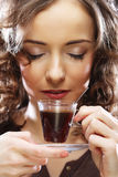 Beautiful Girl Drinking Tea or Coffee. Royalty Free Stock Images