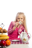 Beautiful girl drinking tea. Royalty Free Stock Photography
