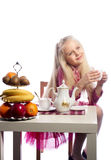 Beautiful girl drinking tea. Royalty Free Stock Images