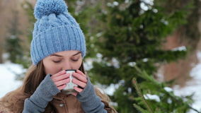 Beautiful girl drinking from a thermos winter stock footage