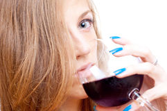 Beautiful girl drinking wine Royalty Free Stock Photo