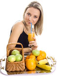 Beautiful girl drinks juice Royalty Free Stock Photo