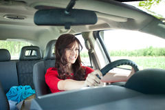 Beautiful girl driving car Royalty Free Stock Photos