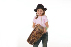 Beautiful girl with drum Royalty Free Stock Image