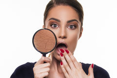 Beautiful girl with dry and damaged face skin concept with magnifier Royalty Free Stock Images