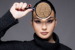 Beautiful girl with dry skin problem close up concept stock images