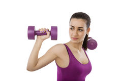 Beautiful girl with dumbbells. Stock Photography