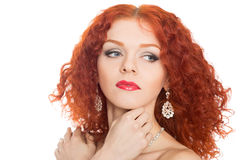 Beautiful girl with earrings Royalty Free Stock Image