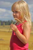 Beautiful girl, ears and yellow field Royalty Free Stock Photography