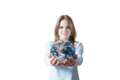 Beautiful girl with earth globe Royalty Free Stock Image