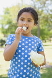 Beautiful girl eating cotton candy at park Stock Photos