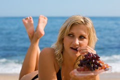 Free Beautiful Girl Eating Grapes Stock Photos - 18805953