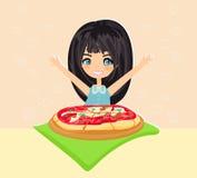 Beautiful girl eating pizza Stock Photos