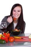 Beautiful Girl Eating Salad Stock Photo