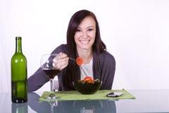 Beautiful Girl Eating Salad Royalty Free Stock Photos