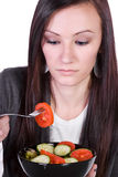 Beautiful Girl Eating Salad Stock Photography