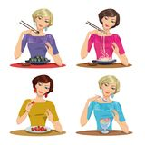 Beautiful girl eats a delicious meal. Set of four illustrations Stock Photography