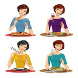 Beautiful girl eats a delicious meal. Set of four illustrations Royalty Free Stock Images