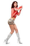 The beautiful girl eats a water-melon Royalty Free Stock Images