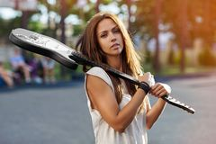 Beautiful girl with electric guitar Royalty Free Stock Photography