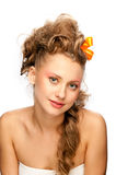 Beautiful girl with an elegant hairstyle Stock Photos