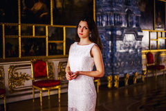 Beautiful girl. Elegant girl in beautiful palace Royalty Free Stock Photography