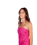 Beautiful girl with elegant pink dress Royalty Free Stock Photography