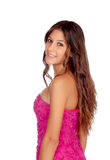 Beautiful girl with a elegant pink dress Stock Photo