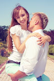 Beautiful girl embraces the guy Royalty Free Stock Photos