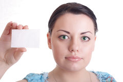 Beautiful girl with empty card in hand. Beautiful girl with empty blank in hand Royalty Free Stock Photography