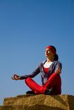 The beautiful girl is engaged in yoga Royalty Free Stock Photo