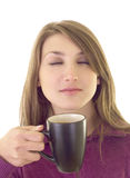 Beautiful girl enjoy cup of coffee Stock Photos