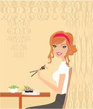 Beautiful girl enjoy sushi Royalty Free Stock Image