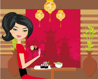 Beautiful girl enjoy sushi Stock Photo