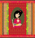 Beautiful girl enjoy sushi - Template Design Stock Images
