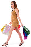 Beautiful girl enjoyed her shopping Royalty Free Stock Images