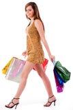 Beautiful Girl Enjoyed Her Shopping Royalty Free Stock Images