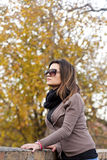 Beautiful girl enjoying autumn day Stock Photography