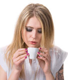 Beautiful girl enjoying coffee Stock Image